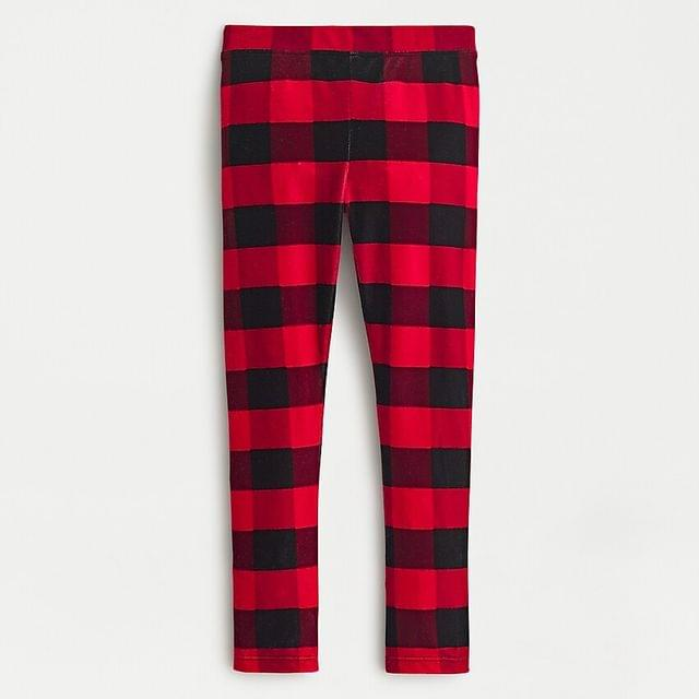 KIDS Girls' leggings in velvet buffalo check plaid