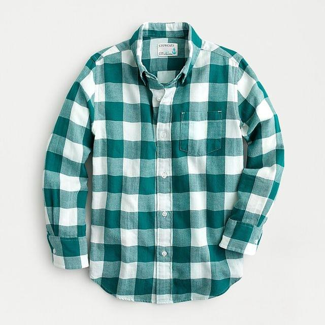 KIDS Boys' flannel shirt in spruce green buffalo check