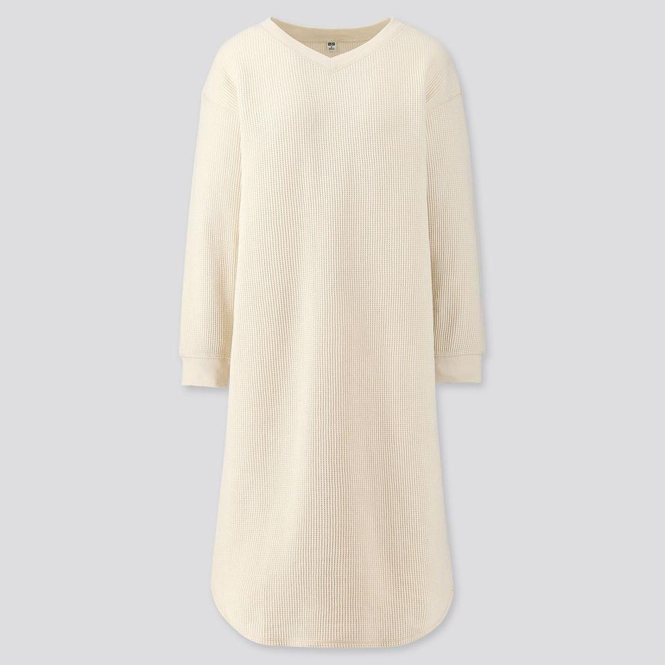 Women's WOMEN WAFFLE V-NECK LONG-SLEEVE DRESS