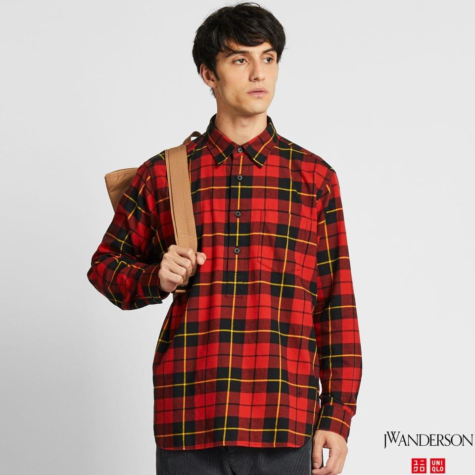 Men's MEN FLANNEL CHECKED PULLOVER LONG-SLEEVE SHIRT (JW ANDERSON)