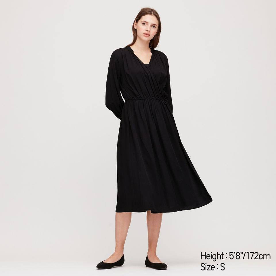 Women's WOMEN RAYON LONG-SLEEVE WRAP DRESS