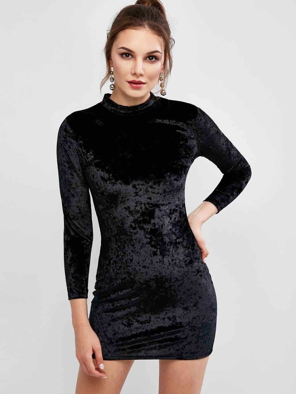 Women's Velvet Long Sleeve Crew Neck Bodycon Dress - Black 2xl