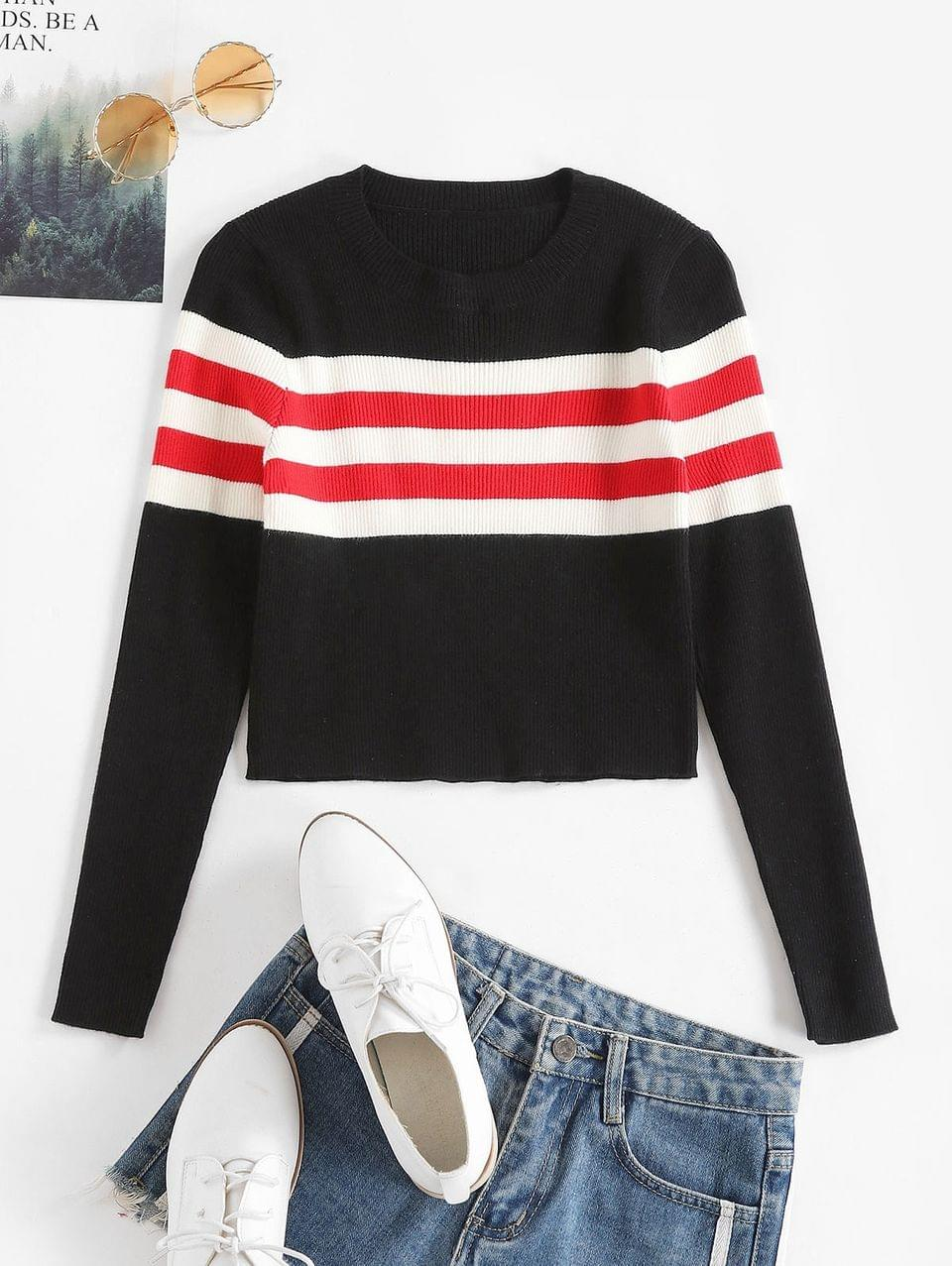 Women's Contrast Striped Ribbed Crop Sweater - Black M