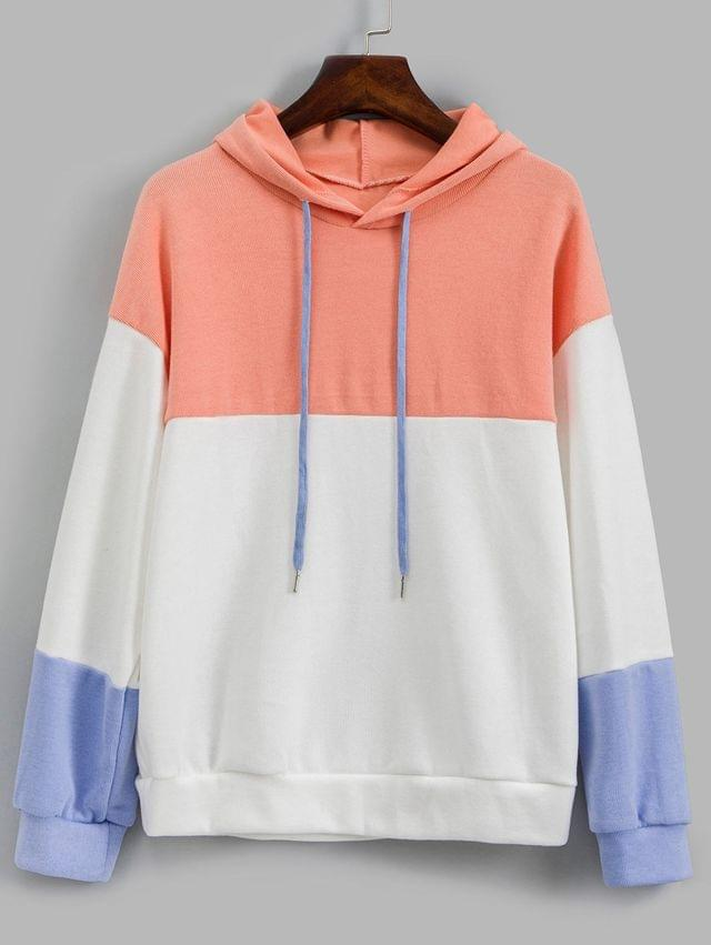 WOMEN Color-blocking Drop Shoulder Knitted Hoodie - Multi-a