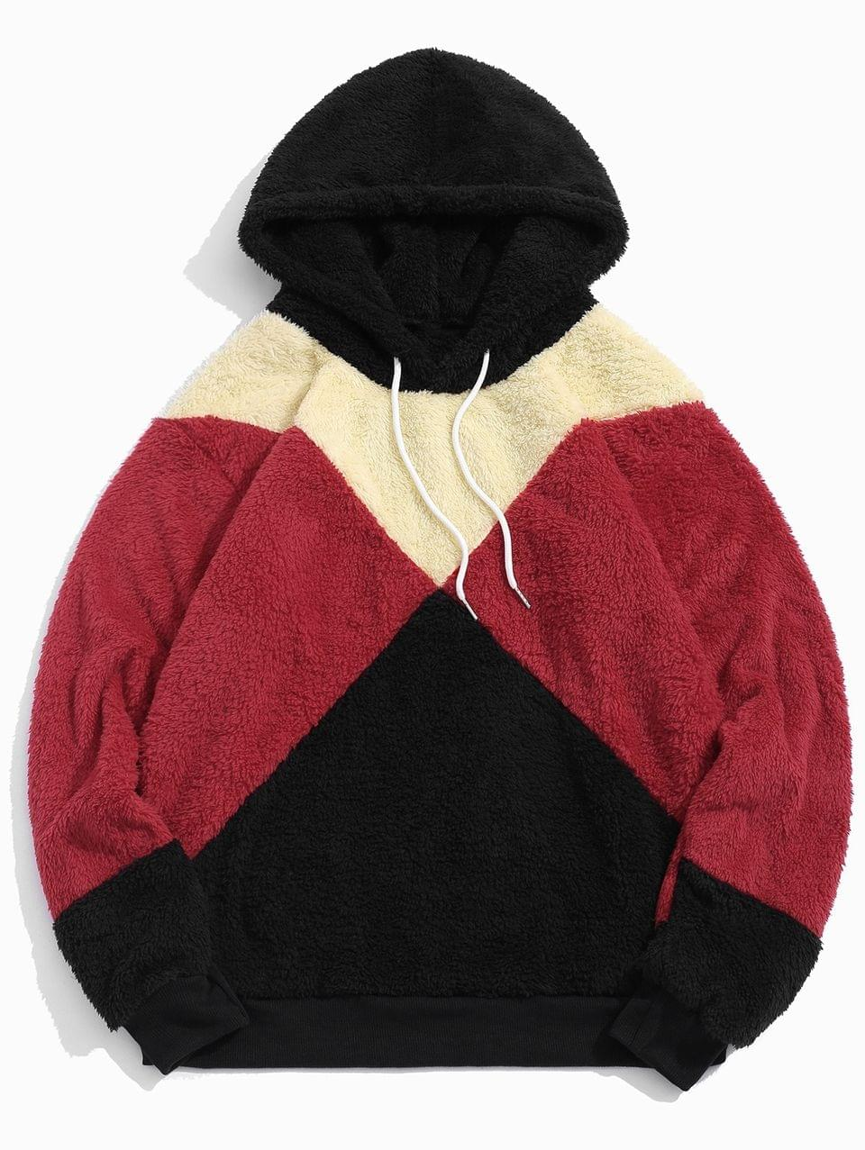 Men's Colorblock Spliced Drawstring Fluffy Faux Fur Hoodie - Black S