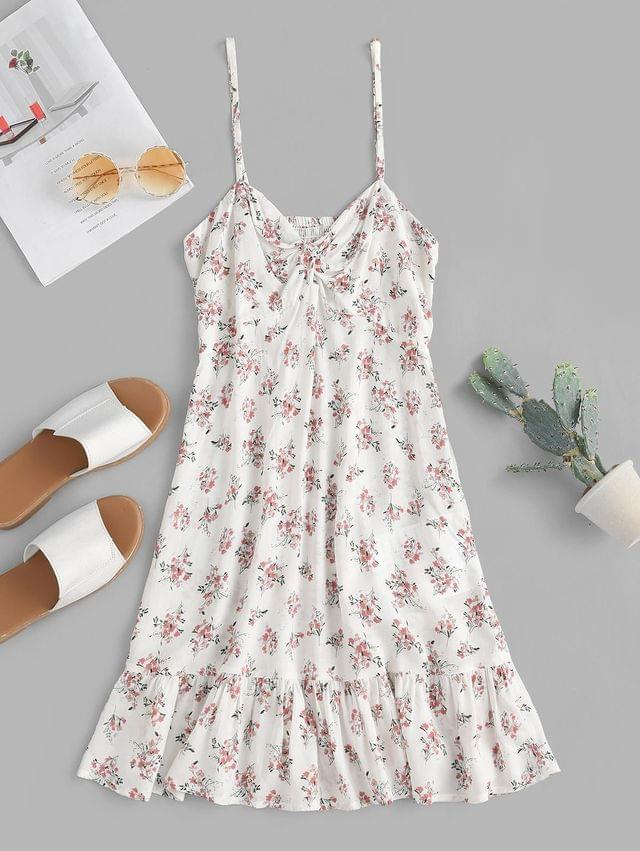 WOMEN Floral Twisted Flounce Cami Summer Dress - Natural White S