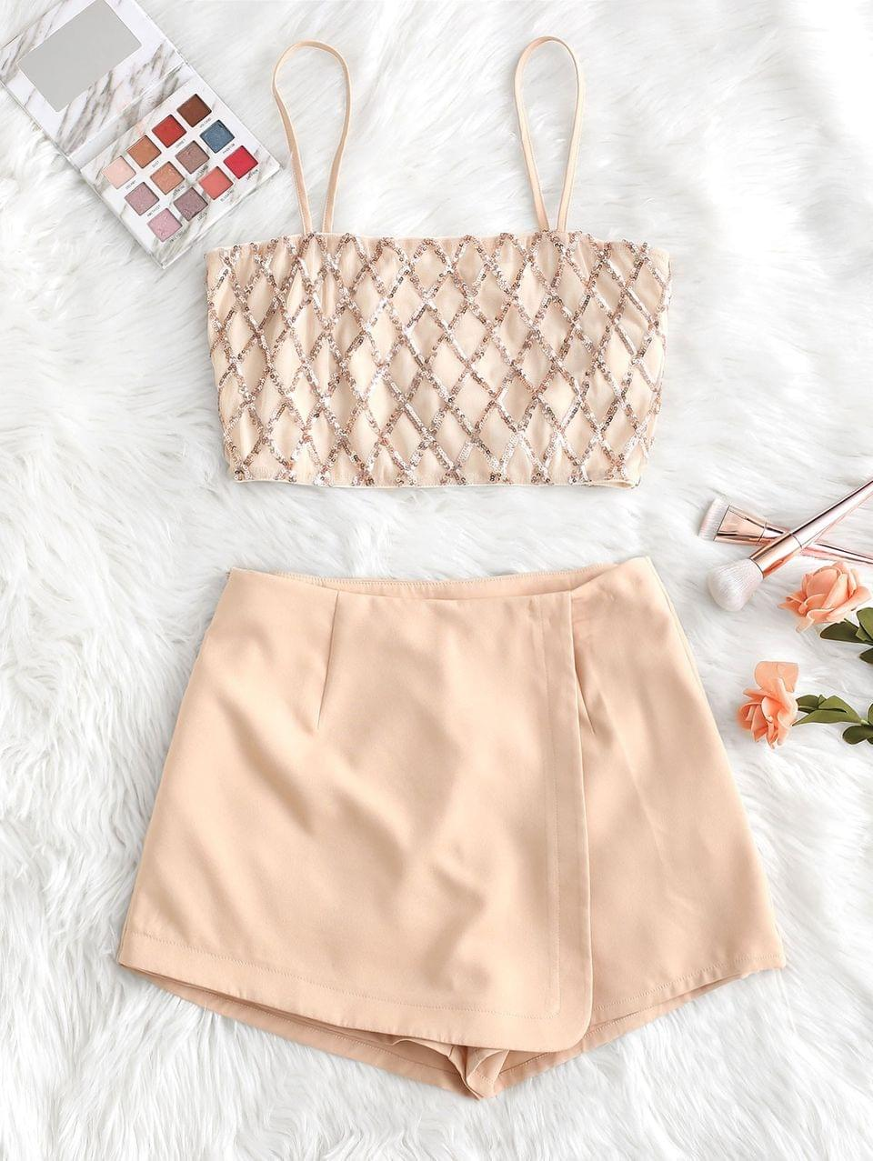 Women's Geometric Sequined Cami Top And Wrap Culotte Set - Rose S