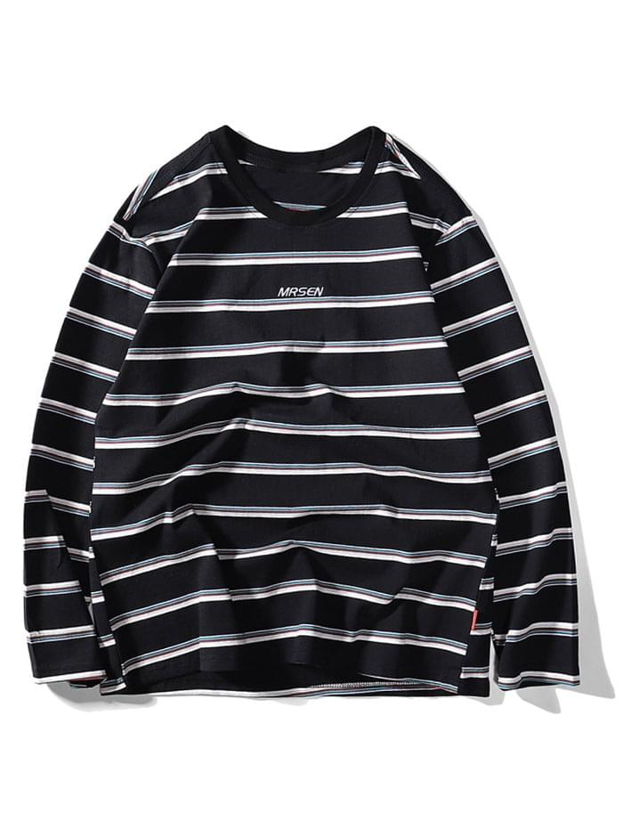 Men's Striped Letter Embroidery Casual T-shirt - Black 2xl