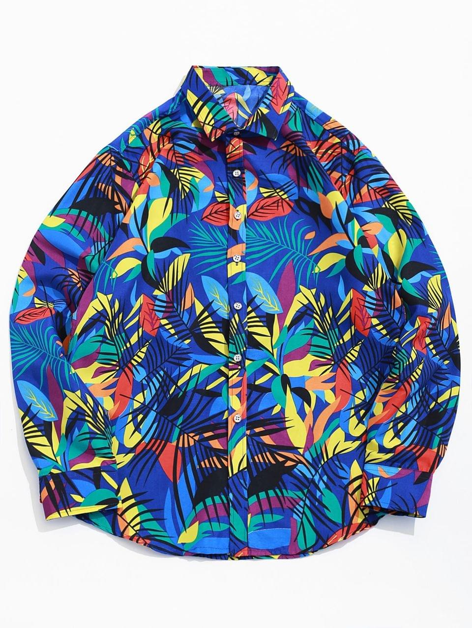Men's Colored Tropical Leaf Print Button Beach Vacation Shirt - Blue 2xl