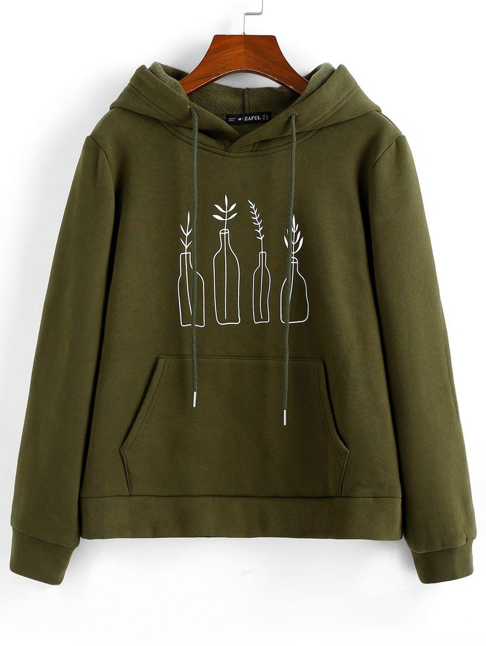 Women's Bottle Graphic Front Pocket Drawstring Hoodie - Fern Green L