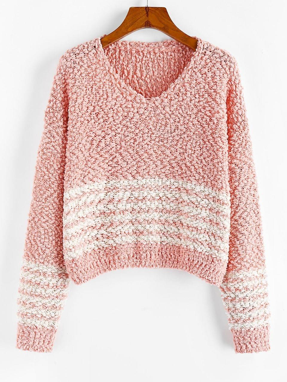 Women's Popcorn Knit Striped Drop Shoulder Sweater - Deep Peach L