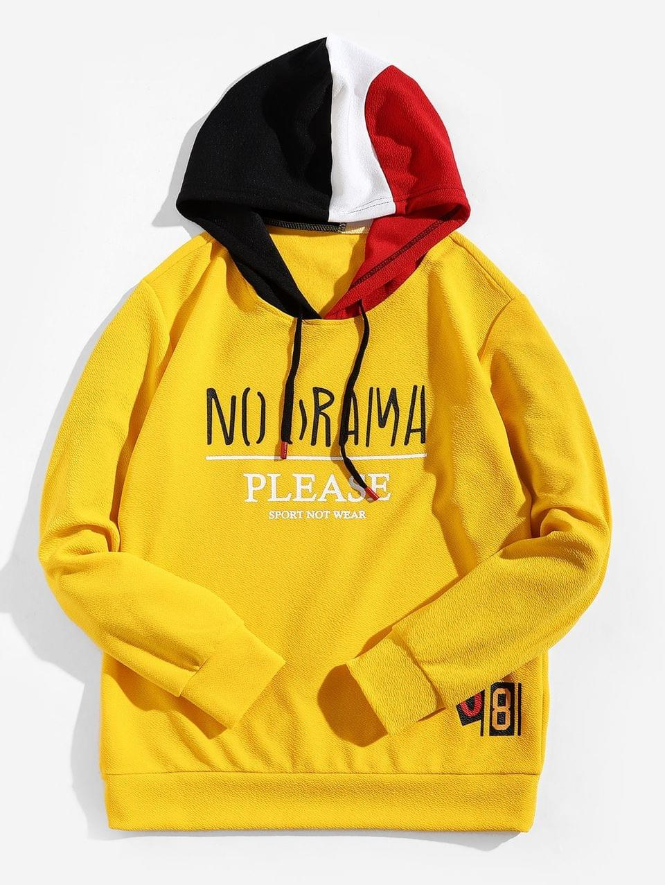 Men's Letter Graphic Color-blocking Spliced Hoodie - Yellow S
