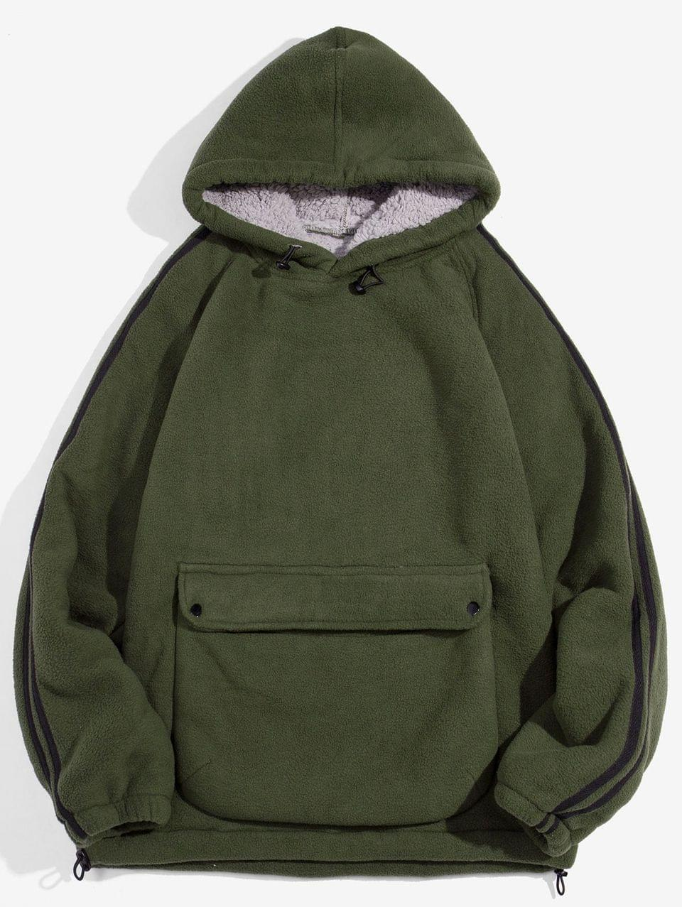 Men's Solid Color Pocket Design Fluffy Hoodie - Army Green L