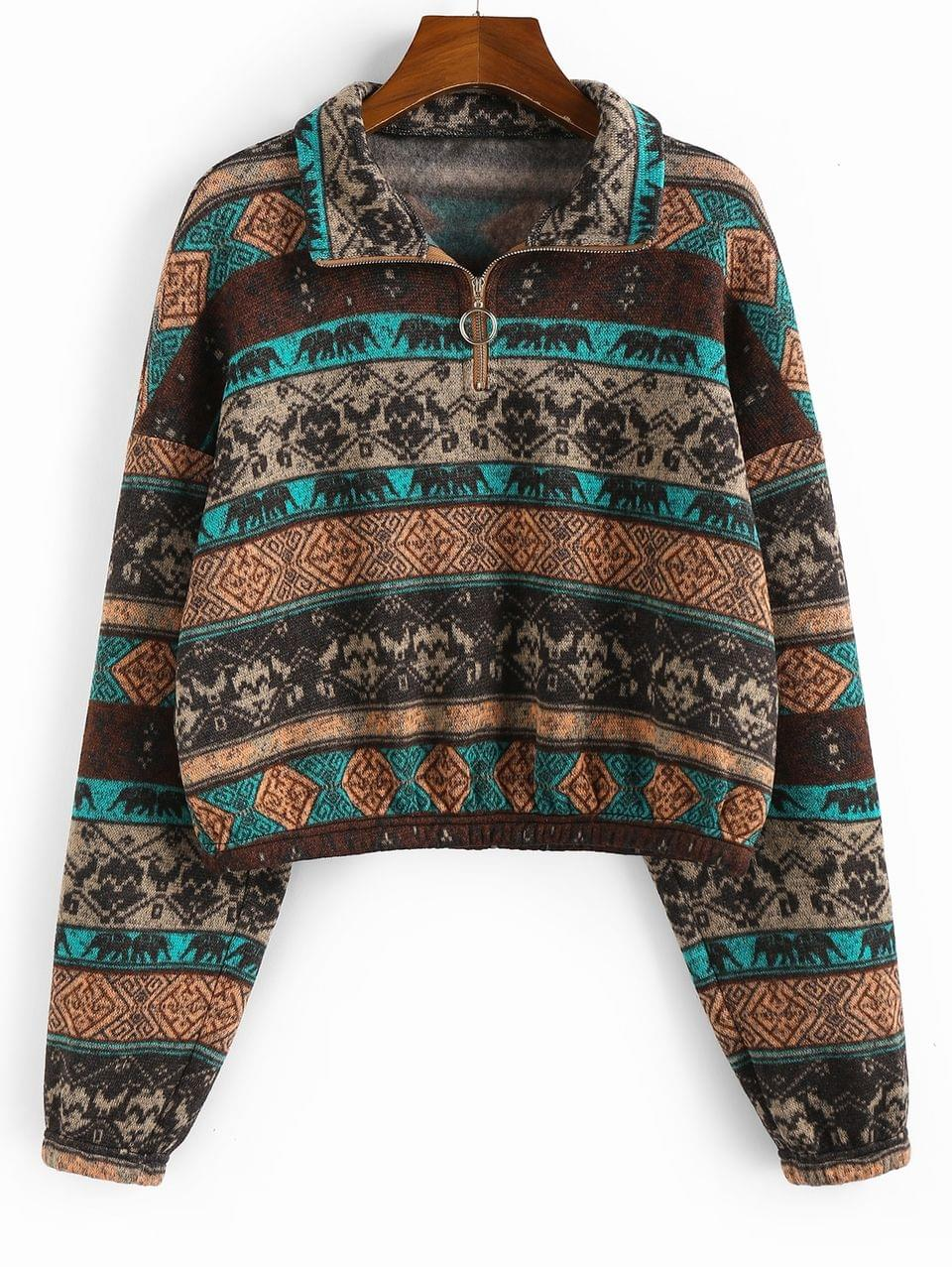 Women's Ethnic Elephant Print Drop Shoulder Quarter Zip Hoodie - Multi-a Xl