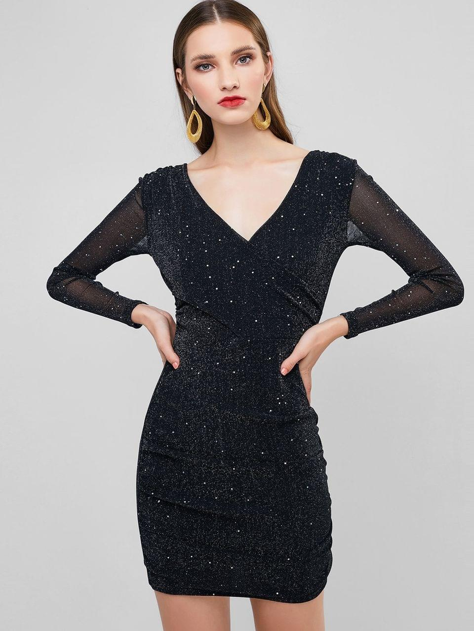 Women's Glitter Plunging Ruched Bodycon Party Dress - Black M