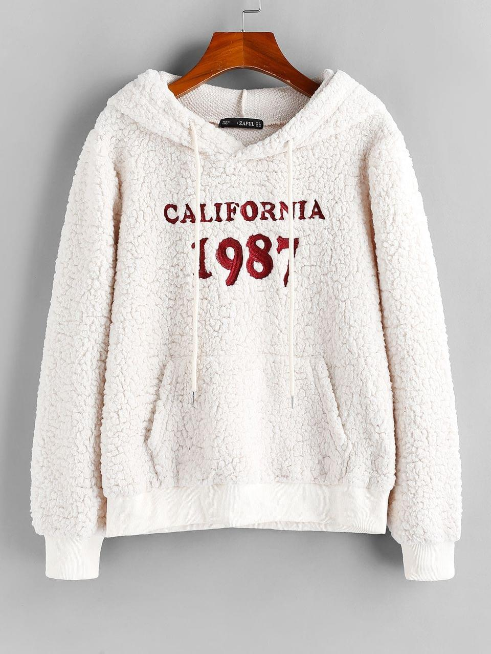 Women's Letter Embroidered Faux Shearling Hoodie - White Xl