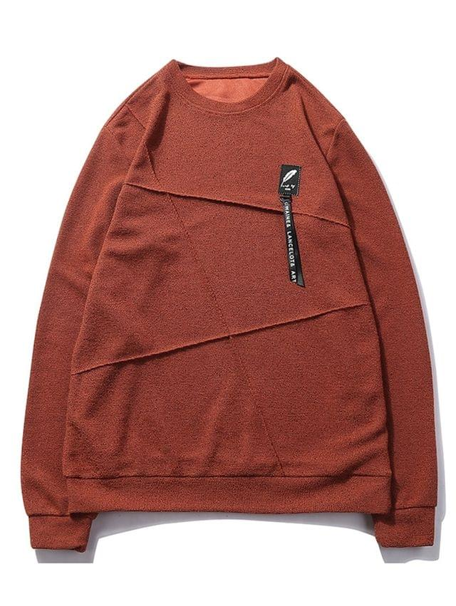 MEN Letter Print Applique Splicing Casual Sweatshirt - Chestnut Red M