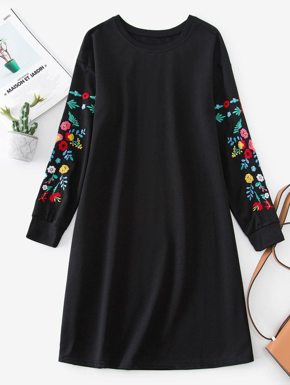 Women's Flower Embroidered Drop Shoulder Sweatshirt Dress - Black L