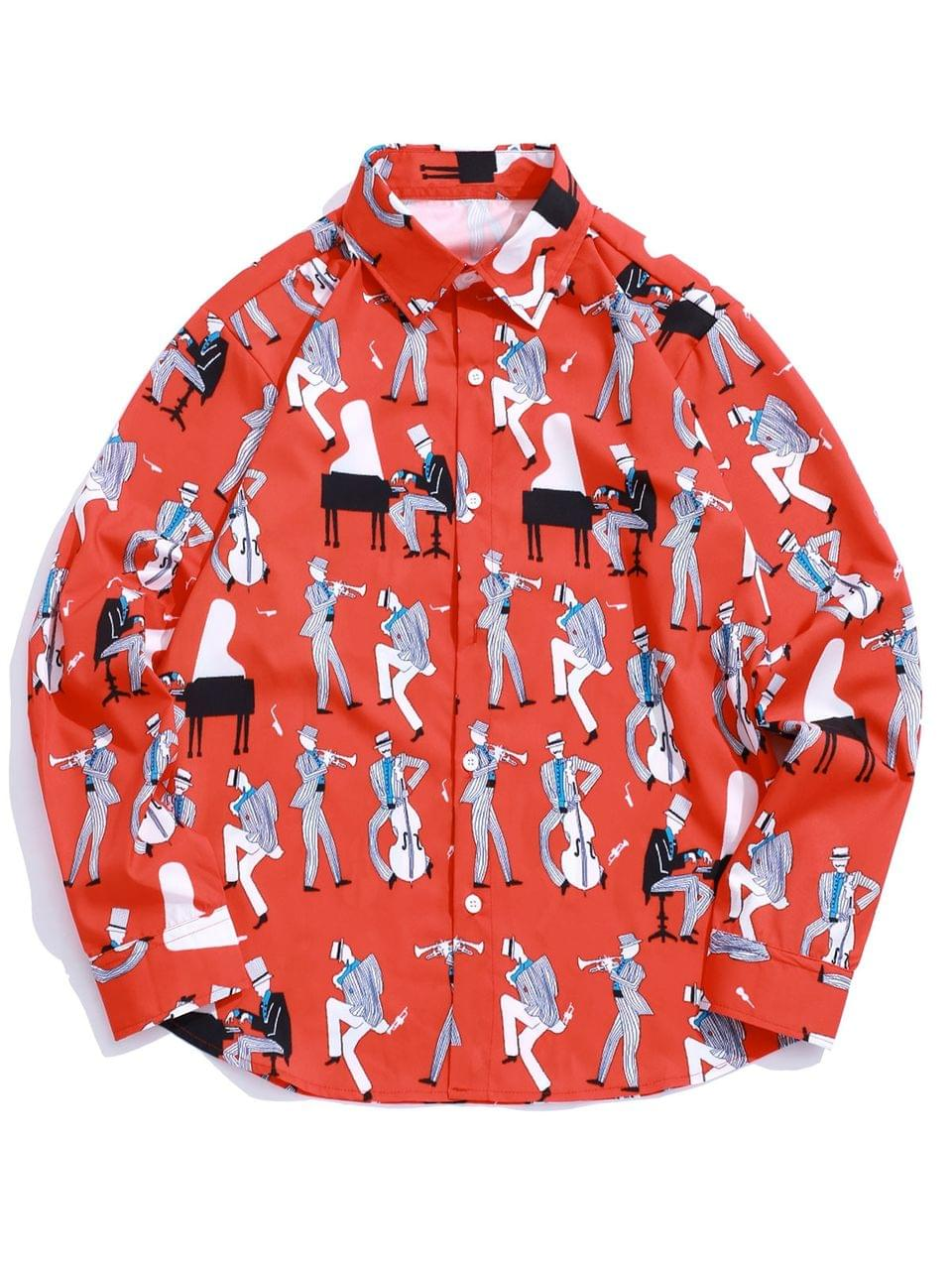 Men's Playing Music Men Print Long Sleeve Casual Shirt - Ruby Red 2xl