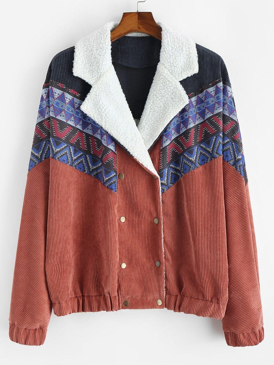 Men's Tribal Printed Button Up Fluffy Jacket - Living Coral 2xl