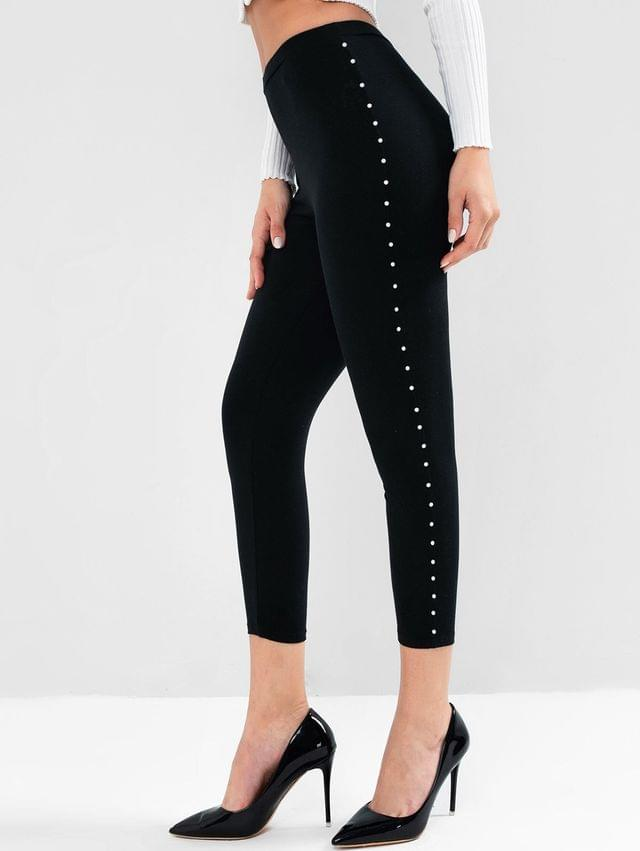 WOMEN High Waisted Faux Pearls Pull On Leggings - Black S