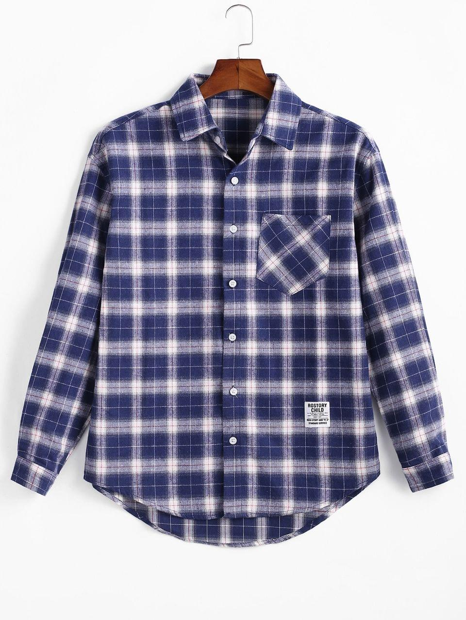 Men's Plaid Print Pocket Long-sleeved Button Shirt - Denim Dark Blue 2xl