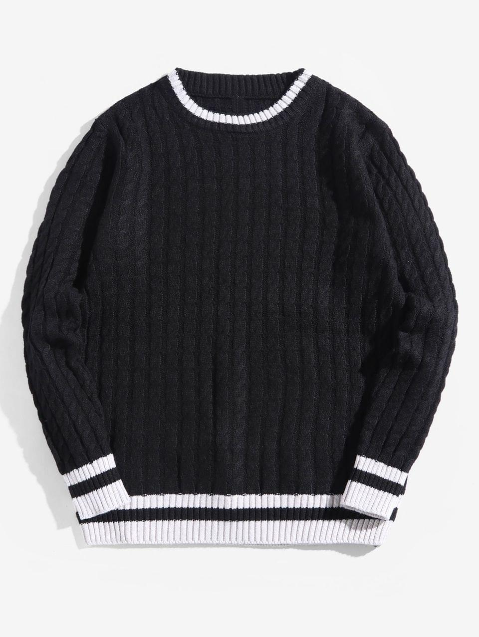 Men's Colorblock Stripes Cable Knit Pullover Sweater - Black M