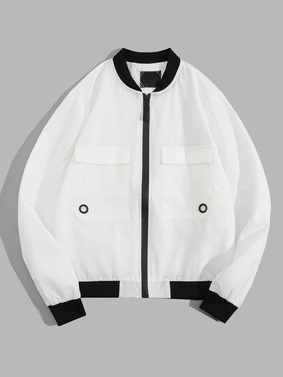 Men's Contrast Trim Flap Pocket Zip Up Jacket - White Xs