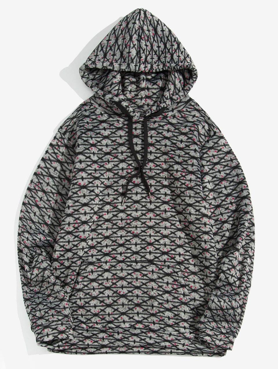 Men's Cross Pattern Kangaroo Pocket Casual Hoodie - Dark Gray M
