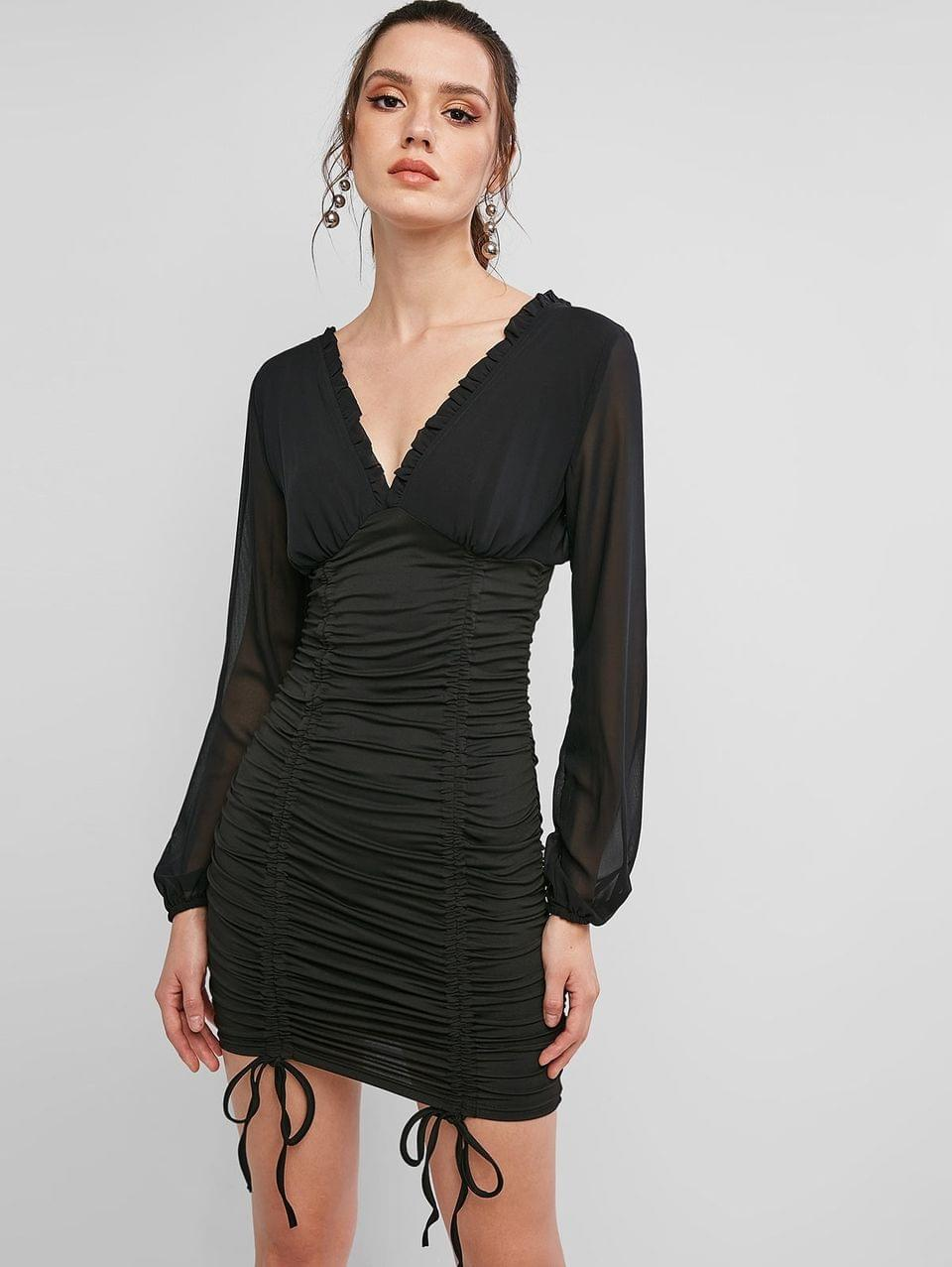 Women's Long Sleeve Cinched Double V Bodycon Dress - Black S