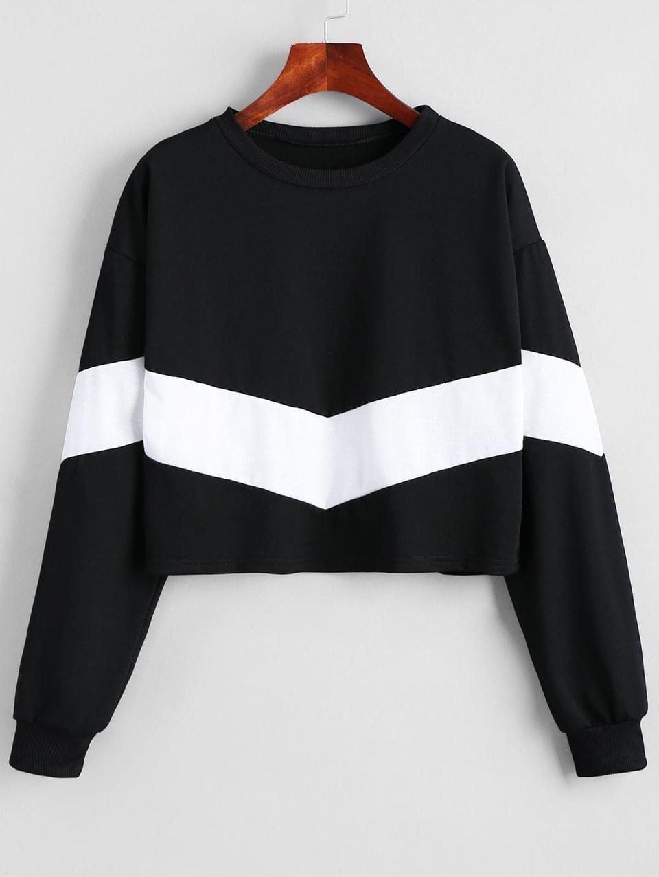 Women's Cropped Two Tone Sweatshirt - White And Black M