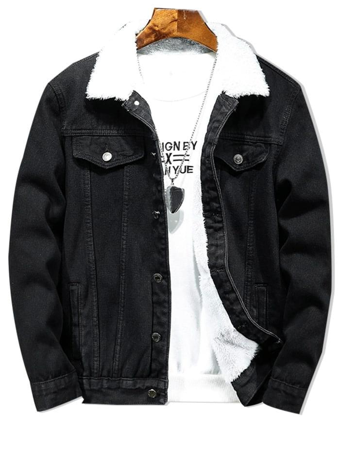 Men's Solid Color Button Denim Fluffy Jacket - Black L