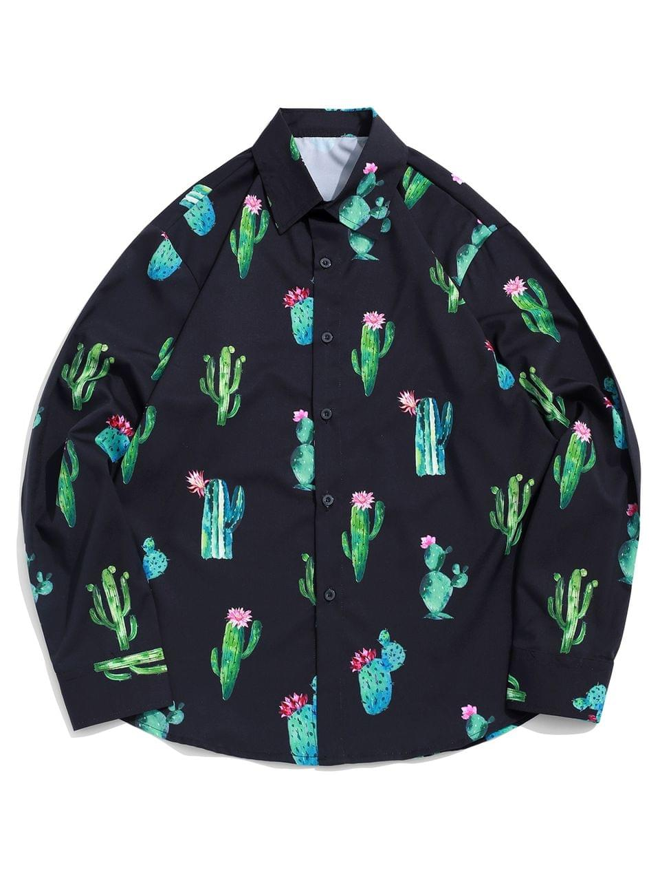 Men's Cactus And Flower Print Long Sleeve Casual Vacation Shirt - Black S