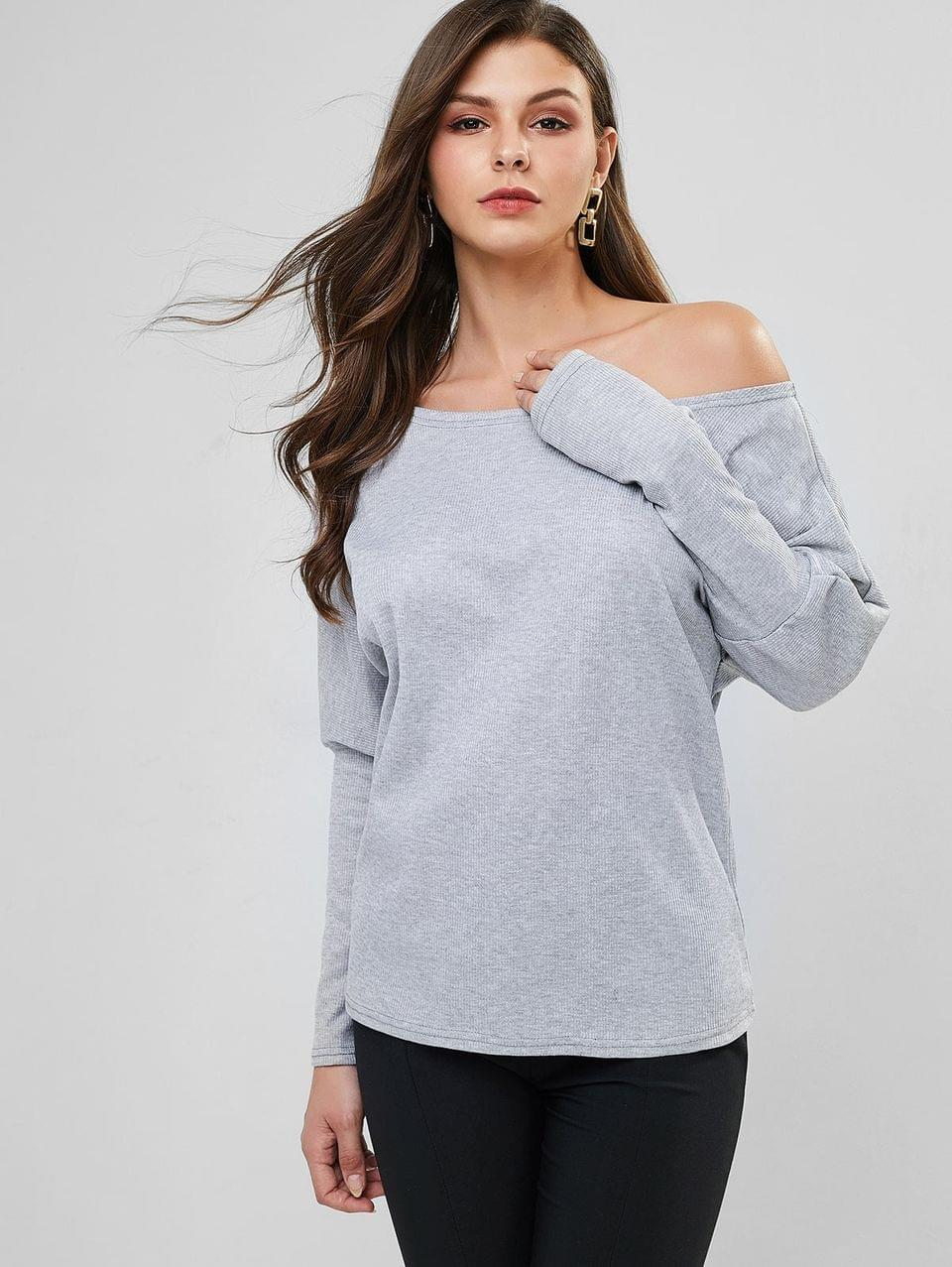 Women's Batwing Sleeve Convertible Off Shoulder Ribbed Top - Gray