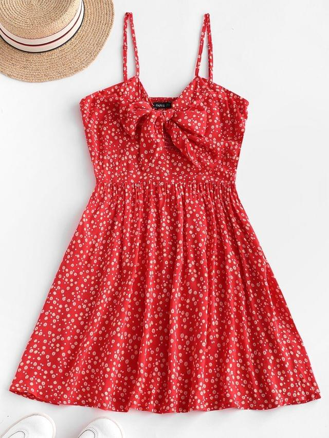 WOMEN Ditsy Floral Knotted Smocked Cami Summer Dress - Ruby Red S