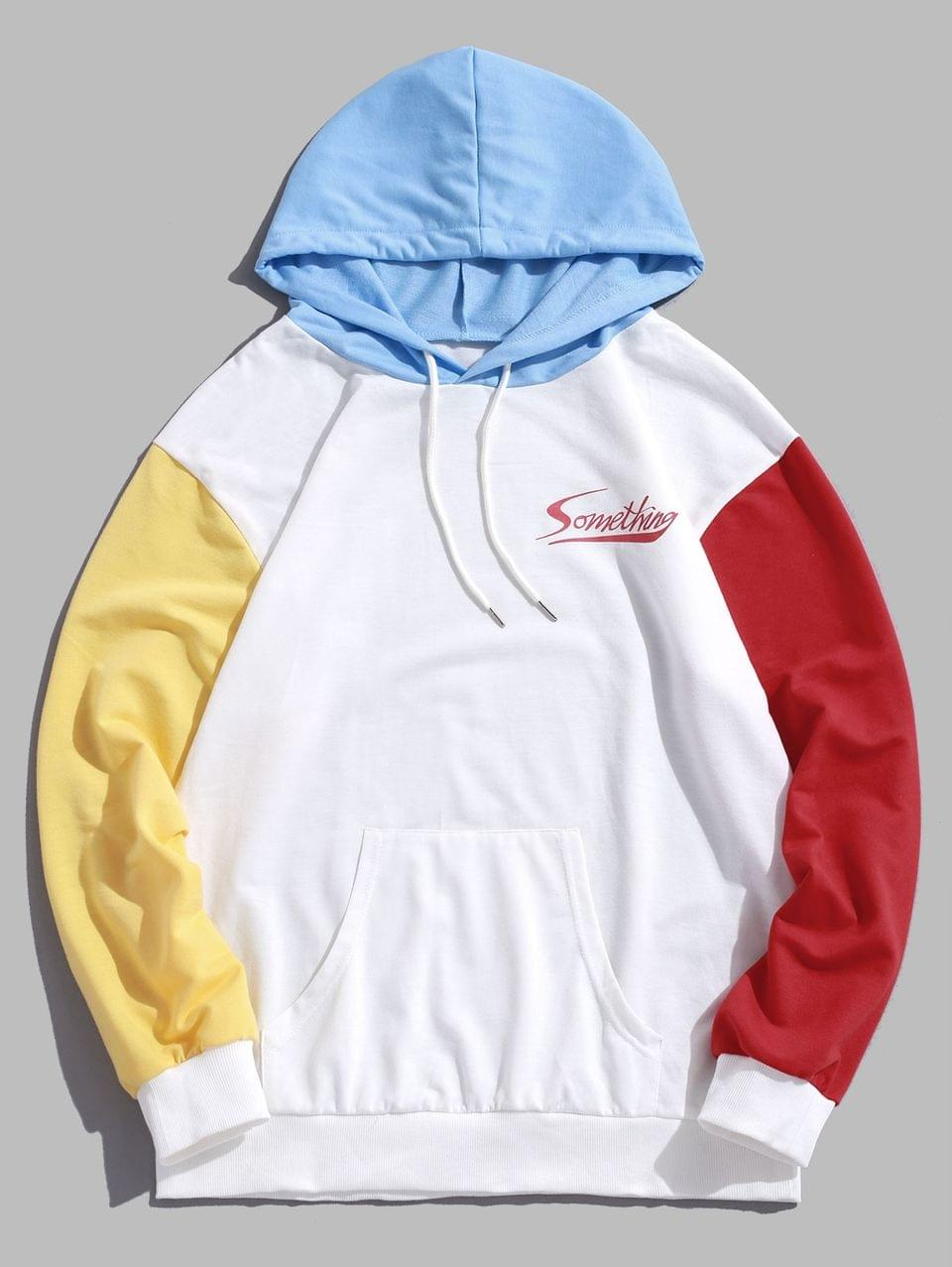 Men's Letter Pattern Color Spliced Casual Hoodie - White Xl