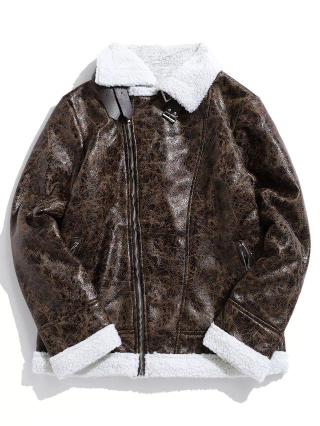 MEN Contrast Spliced Zipper Faux Fur False Leather Jacket - Deep Brown Xs