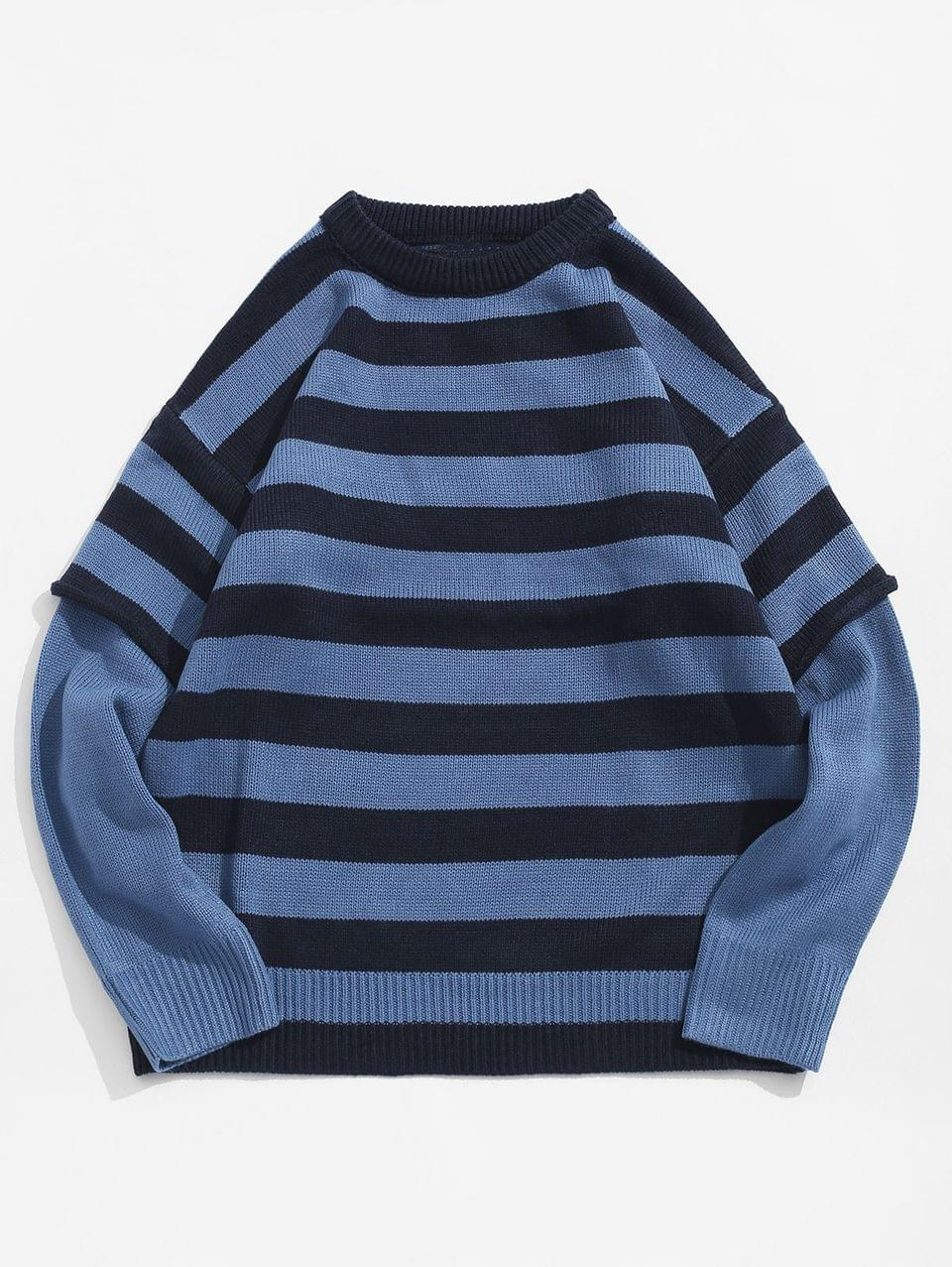 Men's Color Spliced Striped Pattern Round Neck Sweater - Blue Xl