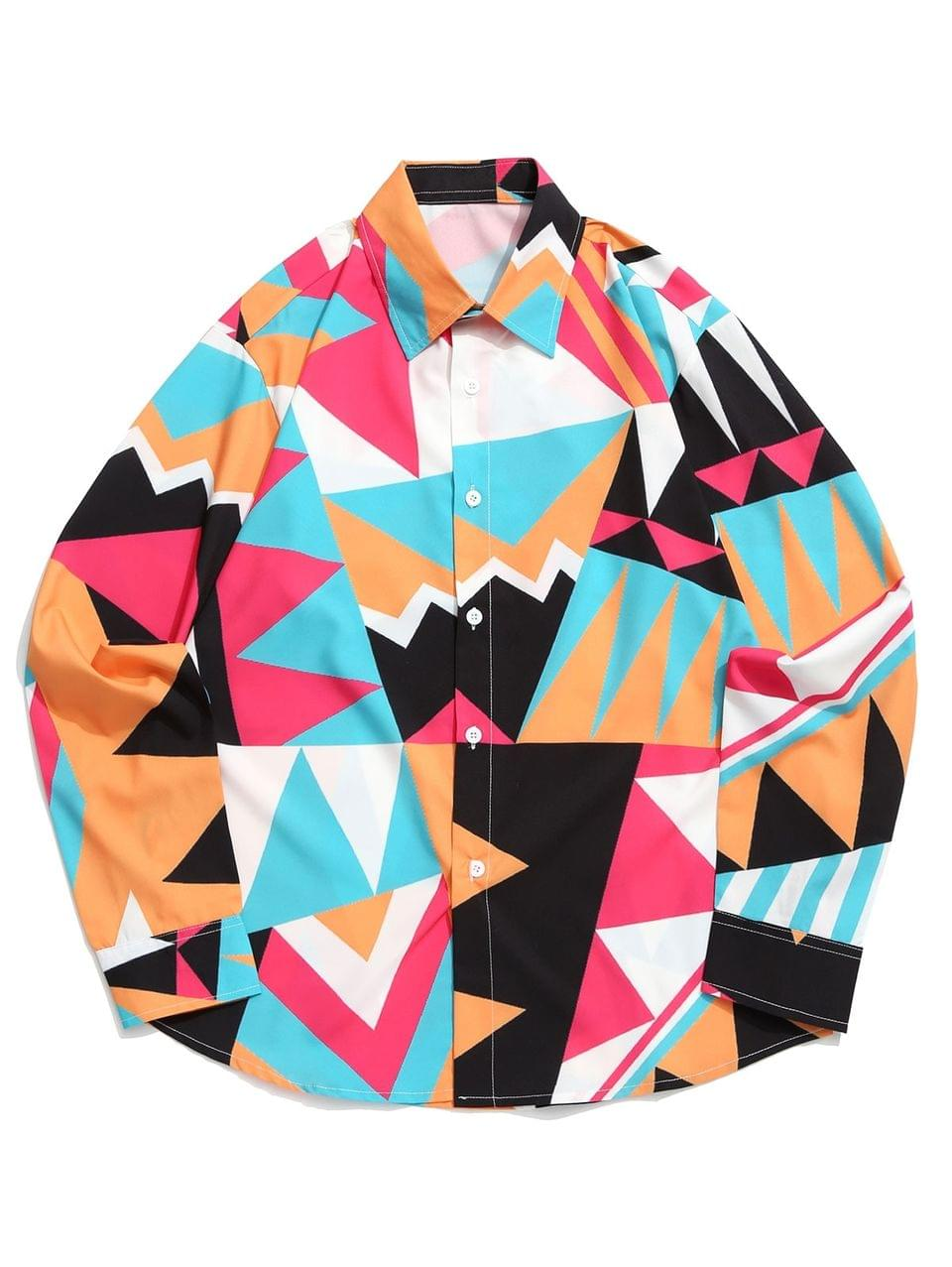 Men's Geometric Color Blocking Spliced Print Curved Hem Shirt - Multi M