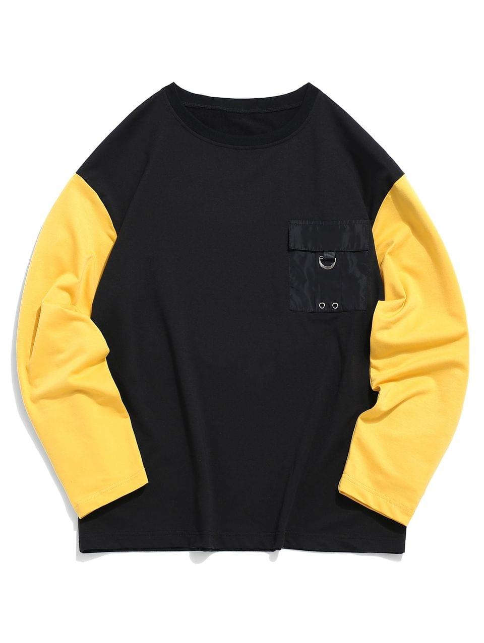 Men's Pocket Decorated Color Spliced Sweatshirt - Black S
