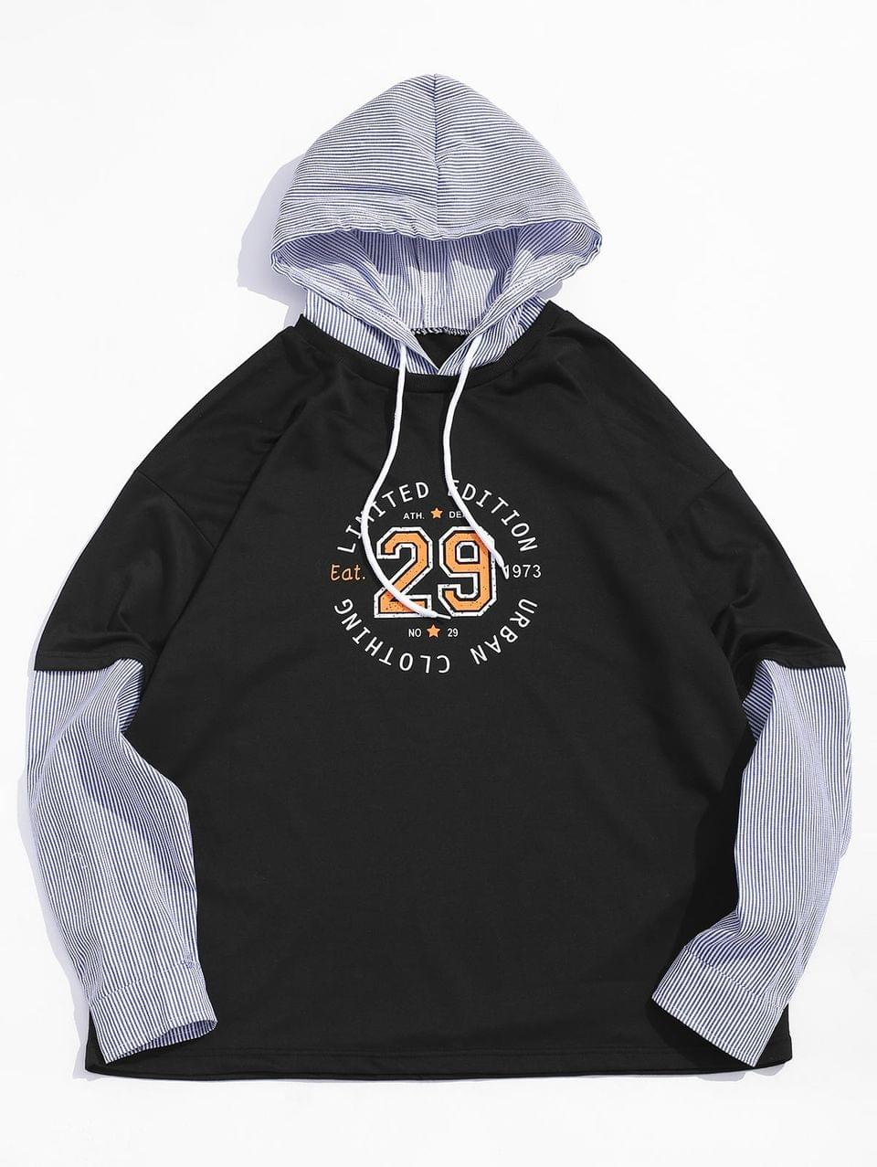 Men's Graphic Printed Faux Two Pieces Hoodie - Black L