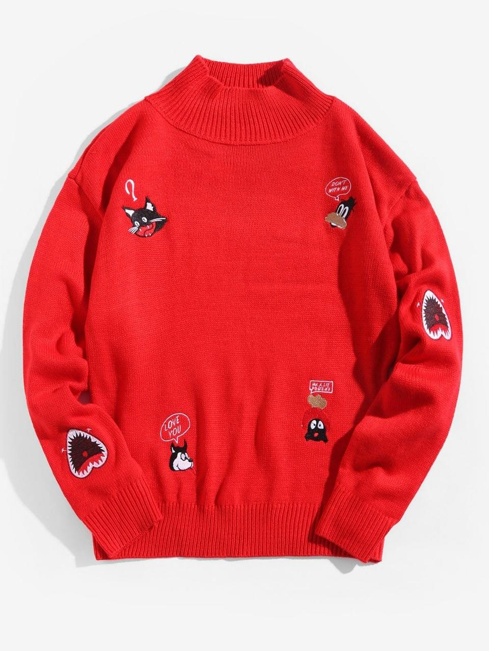 Men's Embroidery Animal Letter Graphic Mock Collar Pullover Sweater - Lava Red M