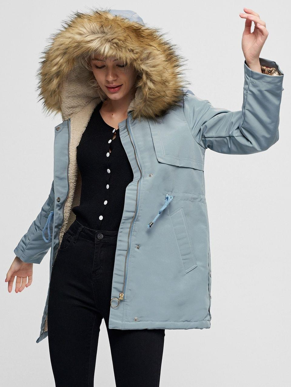 Women's Pocket Drawstring Waist Faux Fur Lining Parka Coat - Baby Blue S