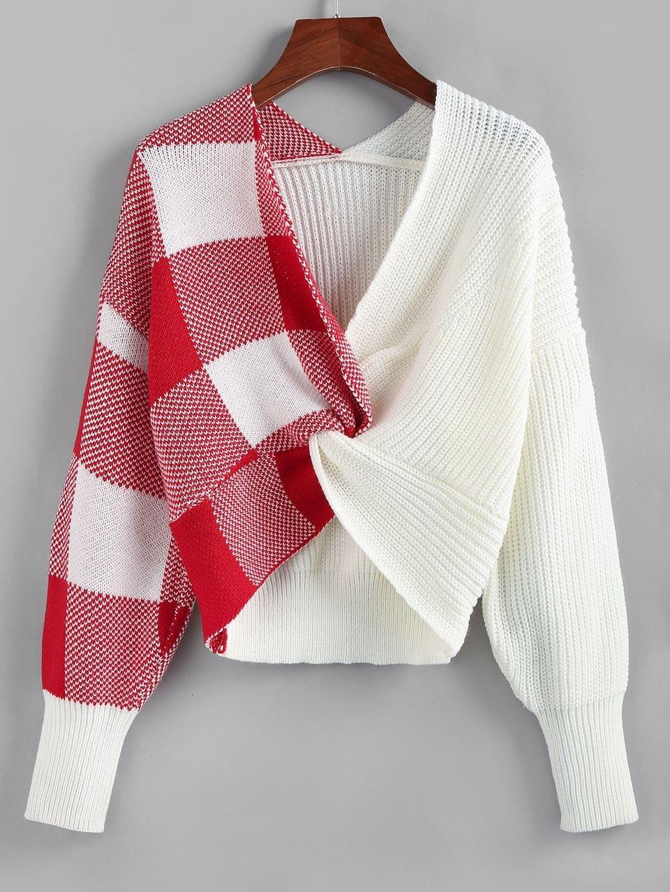 Women's Plaid Twisted Drop Shoulder Jumper Sweater - White S