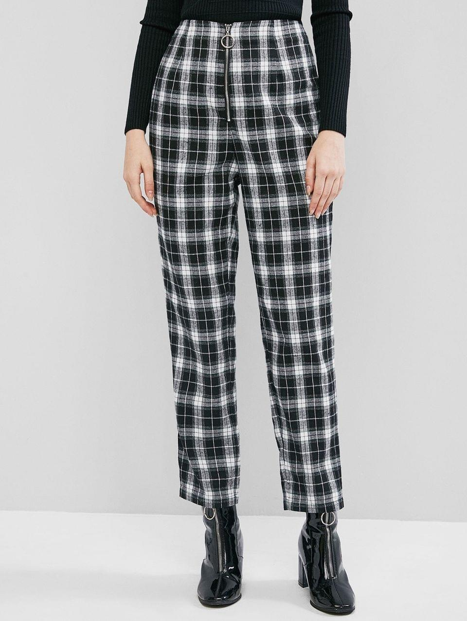 Women's Zip Front Plaid High Waisted Straight Pants - Black M