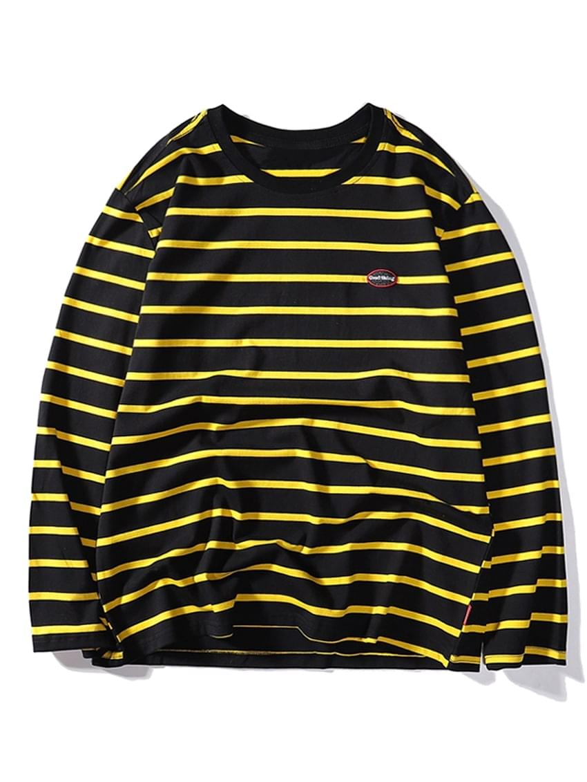 Men's Contrast Stripes Letter Embroidery Long Sleeve T-shirt - Black 2xl