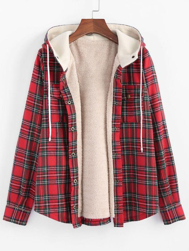 WOMEN Plaid Hooded Fluffy Lined Snap Button Jacket - Multi-d Xl