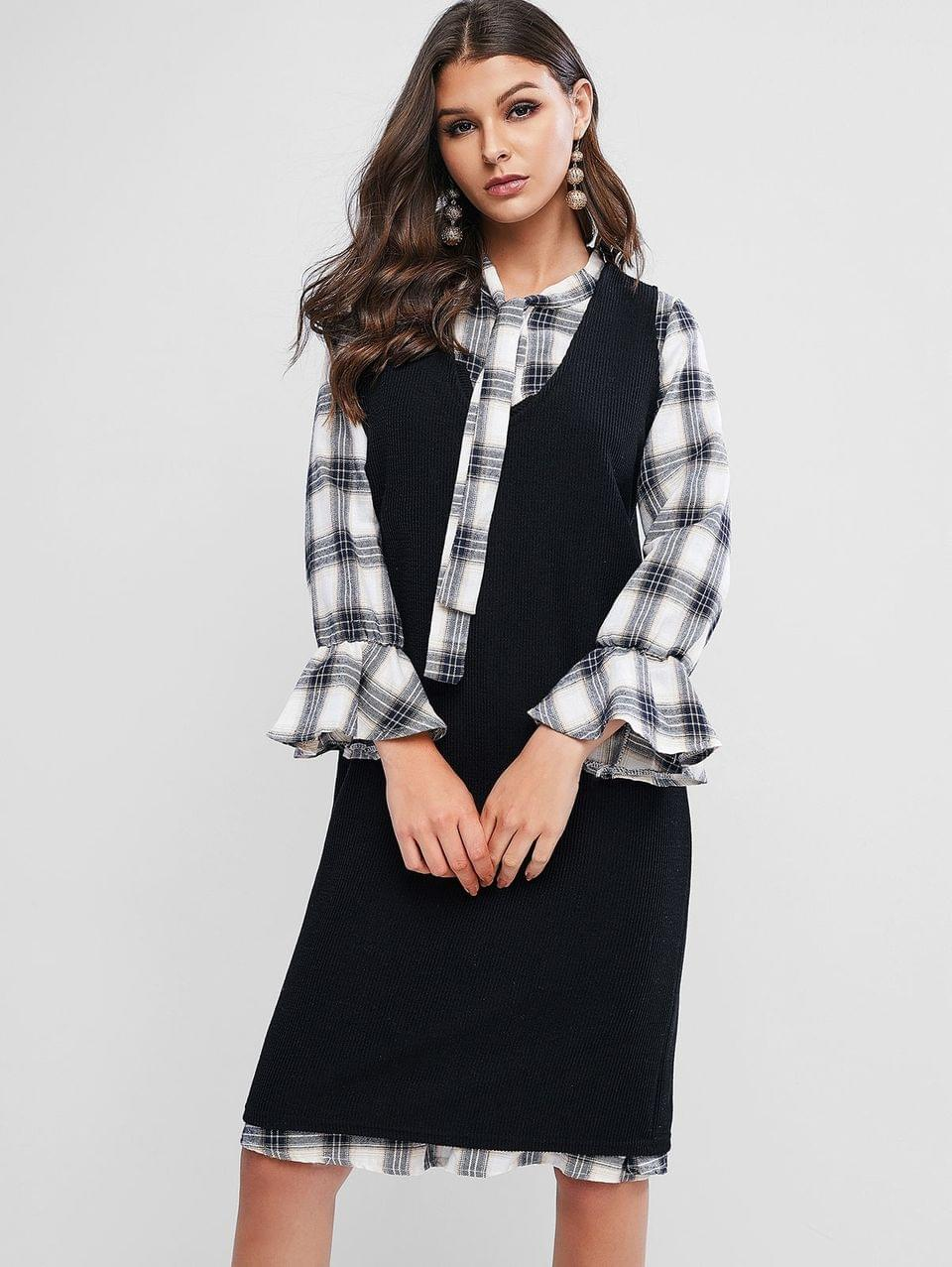 Women's Plaid Poet Sleeves Bowtie Two Piece Dress Set - Black L