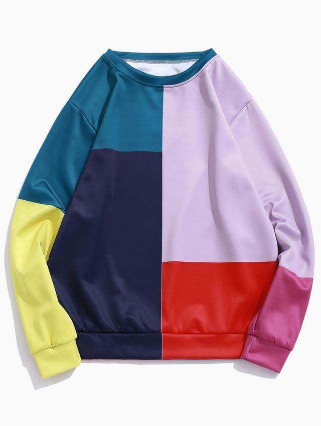 MEN Color Block Panel Pullover Casual Sweatshirt - Multi-a 3xl