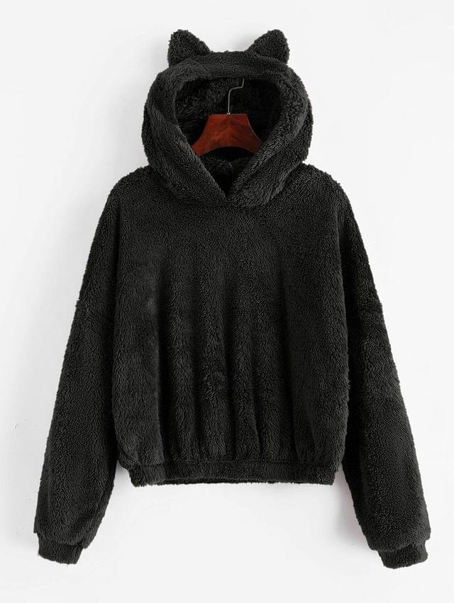 WOMEN Solid Color Fluffy Loose Hoodie - Black Xl